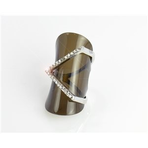 Full Rhinestone Silver Ring Adjustable Top New Design Collection 68691