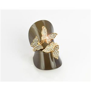 Full Rhinestones Gold Ring Adjustable Top New Design Collection 68689