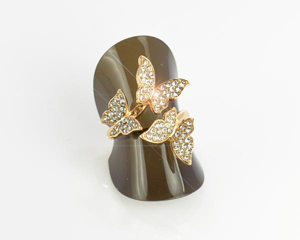 Full Rhinestones Gold Ring Adjustable Top New Design Collection