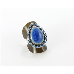 Adjustable silver ring Crystal set cloisonné beads Ethnic Collection 68716
