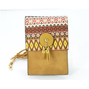 Back pocket Female + Touch Smartphone XL leather look and Pompon 12 * 18cm Ethnic Fabrics Collection 68771