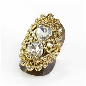 Adjustable Rhinestone Ring Full Rhinestone GOLD Vintage Collection 67600
