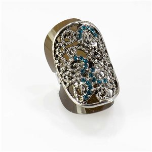 Adjustable Rhinestone Ring Full Rhinestone Vintage Collection SILVER 67750