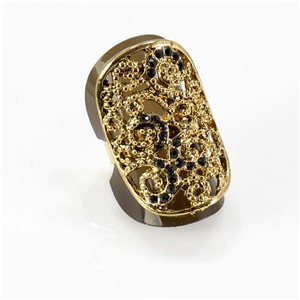 Adjustable Rhinestone Ring Full Rhinestone GOLD Vintage Collection 67755