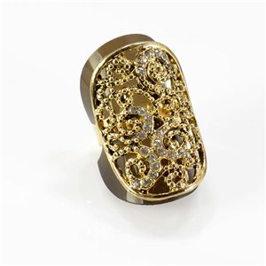 Adjustable Rhinestone Ring Full Rhinestone GOLD Vintage Collection 67756