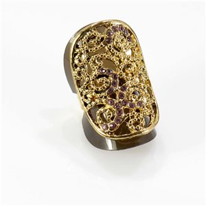 Adjustable Rhinestone Ring Full Rhinestone GOLD Vintage Collection 67760
