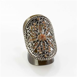 Adjustable Rhinestone Ring Full Rhinestone Vintage Collection SILVER 67825