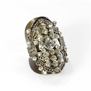Adjustable Rhinestone Ring Full Rhinestone Vintage Collection SILVER 67891