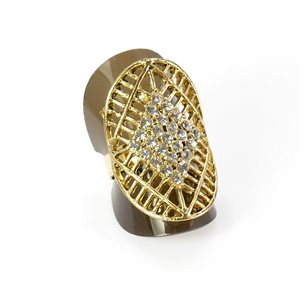 Adjustable Rhinestone Ring Full Rhinestone GOLD Vintage Collection 67936