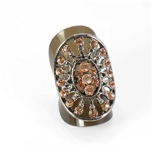Adjustable Rhinestone ring SILVER Full Rhinestone Vintage Collection 67,987