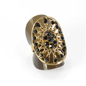 Adjustable Rhinestone Ring Full Rhinestone GOLD Vintage Collection 67,989