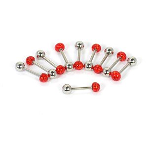 10 tongue piercing red rhinestone resin d1.6mm l12mm surgical steel 68852