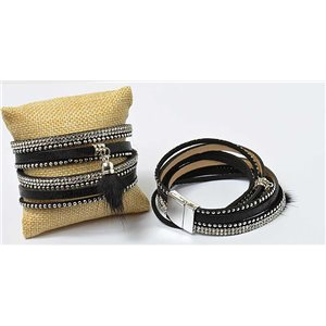 Strass Pompon Bracelet magnetic clasp cuff Effect New Collection 69668