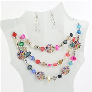 suspension necklace adornment rank 3 Murano style faceted beads 71142