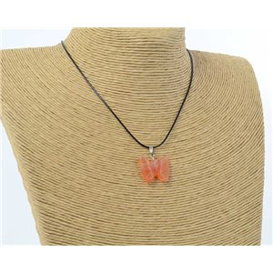 butterfly pendant necklace natural stone on waxed cord l49cm 71178