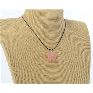 butterfly pendant necklace natural stone on waxed cord l49cm 71181
