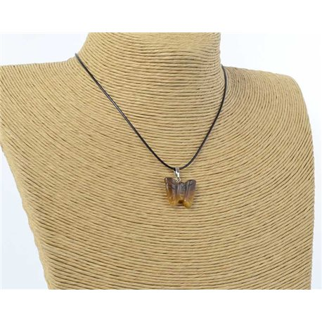 butterfly pendant necklace natural stone on waxed cord l49cm 71182