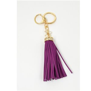Key golden metal door set with Rhinestones leather look tassel bag Jewelry 71316