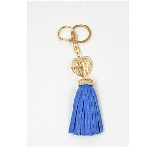 Gold metal door keys set with Rhinestones Bag Jewelry Heart Watermark tassel leather look 71326