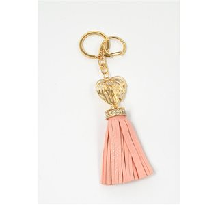 Gold metal door keys set with Rhinestones Bag Jewelry Heart Watermark tassel leather look 71327