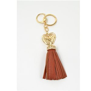 Gold metal door keys set with Rhinestones Bag Jewelry Heart Watermark tassel leather look 71328
