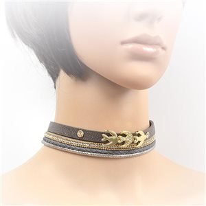 Necklace leather and rhinestone choker new collection 2017 2017 L32-40cm 71699
