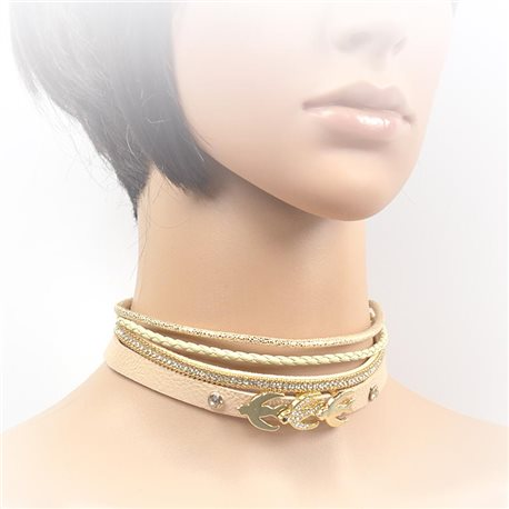 Necklace leather and rhinestone choker new collection 2017 2017 L32-40cm 71701