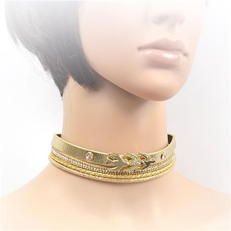 Collier ras de cou Cuir et Strass New Collection Choker 2017 L32-40cm 71702