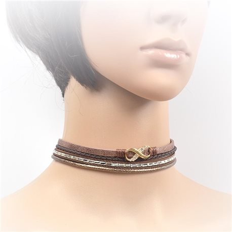 Necklace leather and rhinestone choker new collection 2017 2017 L32-40cm 71709