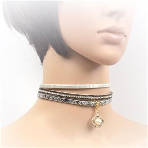 Collier ras de cou Cuir et Strass New Collection Choker 2017 L32-40cm 71723