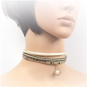 Necklace leather and rhinestone choker new collection 2017 2017 L32-40cm 71724