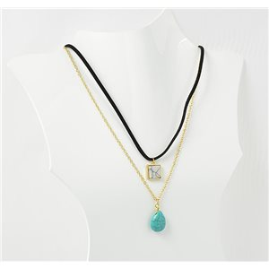 Collier Pierre reconstituée Collection Chic L42-48cm 72136