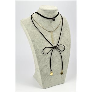 Necklace Velvet aspect Necklace L32,5 / 37cm + lace 1m 72359