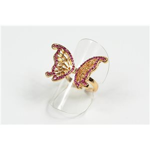 Adjustable Full Strass Ring on metal gold color New Collection 72655