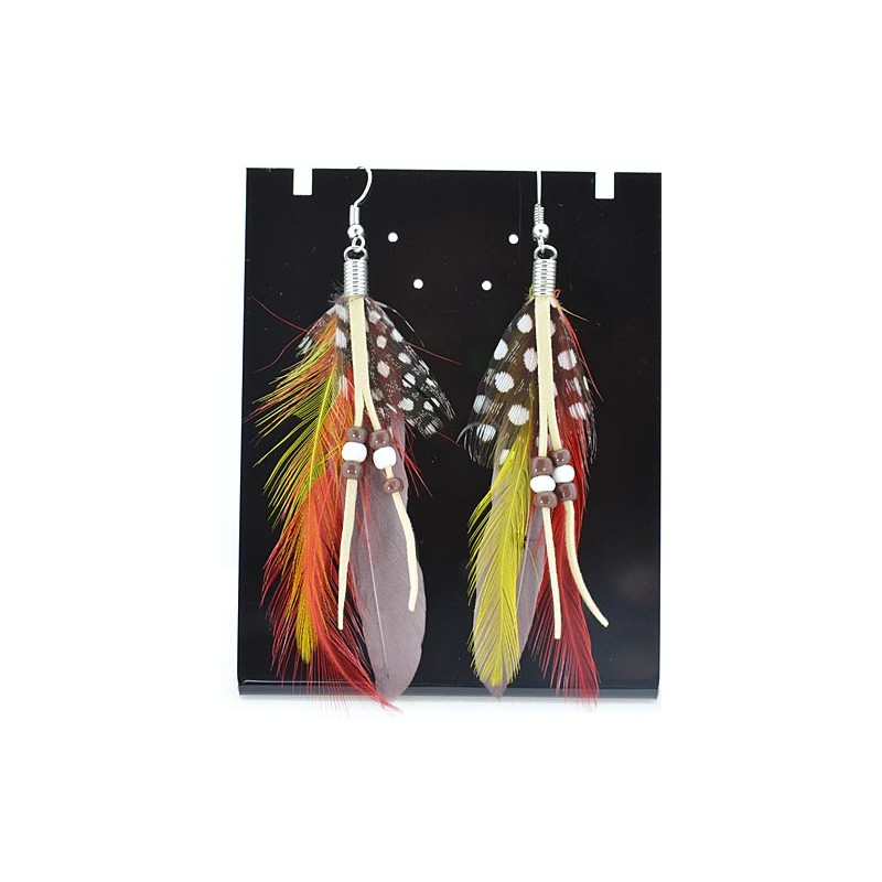 1p Indian Feather Earrings L8 Cm 62342