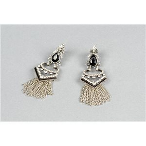 1p Boucles Oreilles à Clou serti de Strass Collection ATHENA 73428