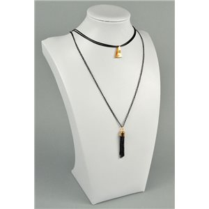 Necklace Long necklace Pendant Jewels on black chain 40-48cm Collection 2018 73970