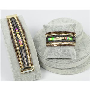 Bracelet Manchette Strass multirang L19cm Collection Bijou Plumes fermoir aimanté 30mm 75339
