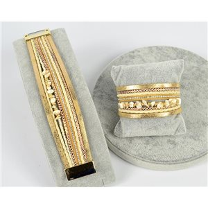 Bracelet Manchette Strass multirang L19cm Collection Bijoux Pierre fermoir aimanté 25mm 75362