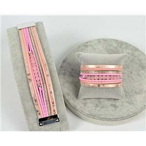 Bracelet Manchette Strass multirang L19cm Collection Bijoux Pierre fermoir aimanté 25mm 75370