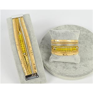 Bracelet Manchette Strass multirang L19cm Collection Bijoux Pierre fermoir aimanté 25mm 75373
