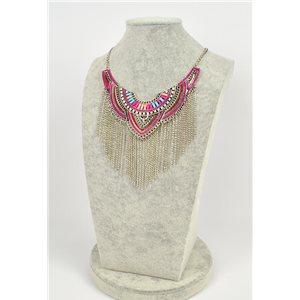 Collier ATHENA métal argenté ciselé sertie de Strass New Collection Ethnique 75444