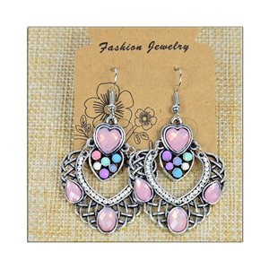 1p Earrings ATHENA silver plated metal set with Rhinestones New Ethnic Collection 75476