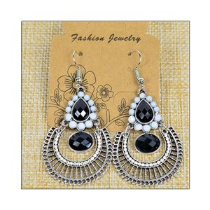1p Earrings ATHENA silver plated metal set with Rhinestones New Ethnic Collection 75481
