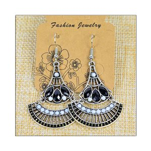 1p Earrings ATHENA silver plated metal set with Rhinestones New Ethnic Collection 75484