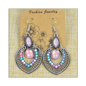1p Earrings ATHENA silver plated metal set with Rhinestones New Ethnic Collection 75485