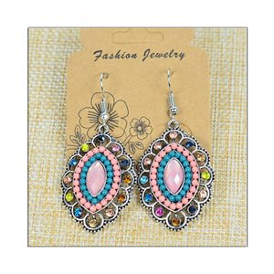 1p Earrings ATHENA silver plated metal set with Rhinestones New Ethnic Collection 75491