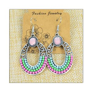 1p Earrings ATHENA silver plated metal set with Rhinestones New Ethnic Collection 75497