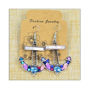 1p Earrings ATHENA silver plated metal set with Rhinestones New Ethnic Collection 75510