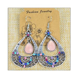 1p Earrings ATHENA silver plated metal set with Rhinestones New Ethnic Collection 75488
